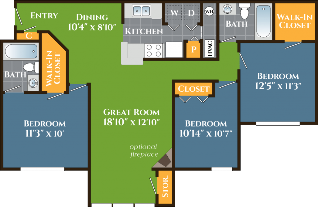 Three-Bedroom Apartments Stone Mountain